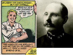 James Carroll as comic book hero and in real-life. Images from the Philip S. Hench Walter Reed Yellow Fever Collection, Claude Moore Health Sciences Library, Box 51 Folder 27 and Box 76 Folder 90.