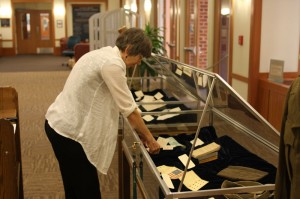 "Historical Collections Assistant, Janet Pearson, assembling ""Frank L. Lowther: Enlisted Man, Fledgling Archivist"""