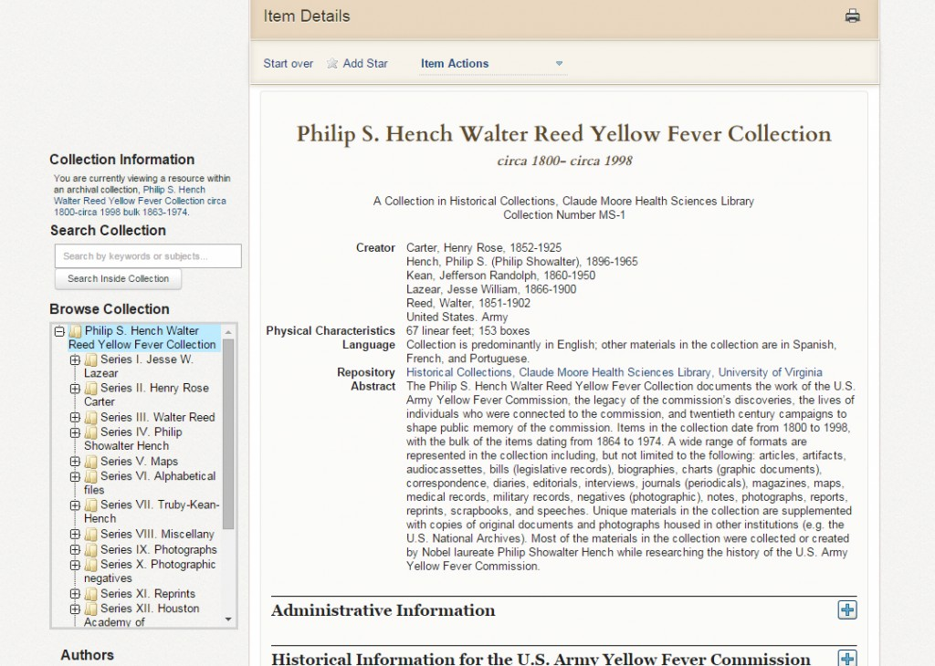 A screenshot of the online yellow fever collection in Virgo.
