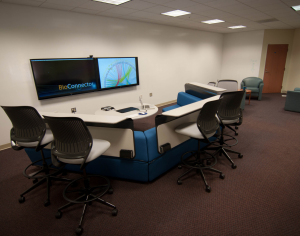 The BioConnector is a physical space that aims to provide researchers with a place to collaborate and to provide PIs with software and tools to enhance the research process.  The space is designed to support the research mission of the University of Virginia Health System and includes access to a technology-enabled collaborative workspace, a suite of research software applications, and telepresence/videoconferencing capabilities.