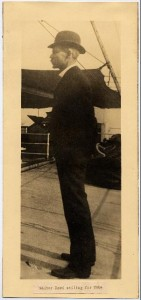 A photograph of Walter Reed, the chair of the U.S. Army Yellow Fever Commission, travelling to Cuba. This photograph can be found online in the Philip S. Hench Walter Reed Yellow Fever Collection.