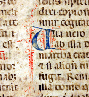 A closeup view of one of the decorated initials depicted on a medieval manuscript at the Claude Moore Health Sciences Library.