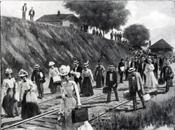 """""""The Exodus from Newport News Caused by the Yellow Fever Outbreak,"""" Harper's Weekly, August 12, 1899."""