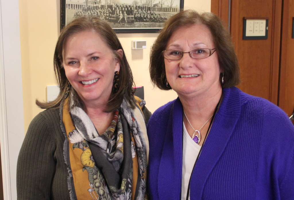 Gretchen Arnold, Library Director, and Wilma Lynch