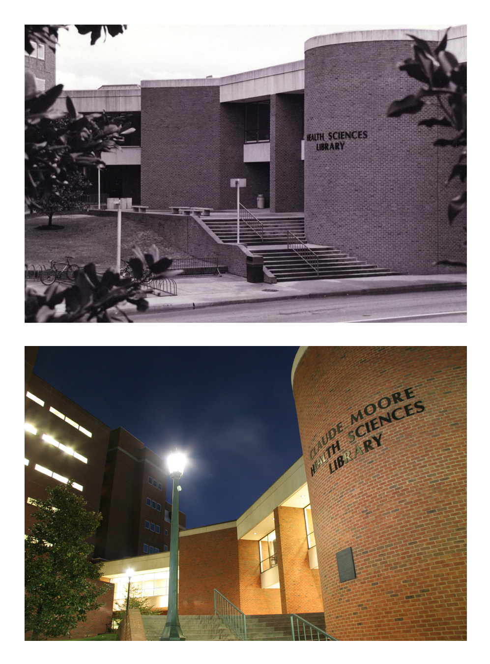 The Health Sciences Library in 1980 and 2006. Images courtesy of Historical Collections & Services, CMHSL, UVA.