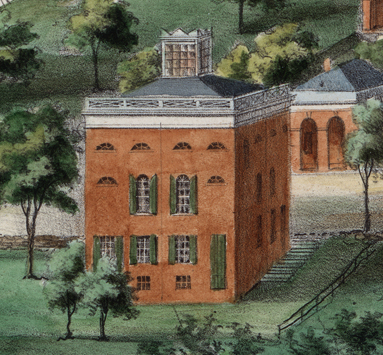 Detail of the Anatomical Theatre from View of the University … by E. Sachse & Co., 1856. Special Collections, University of Virginia Library, Charlottesville, Va.